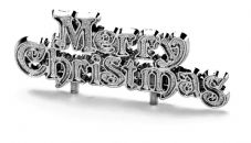 Silver Merry Christmas Cake Topper